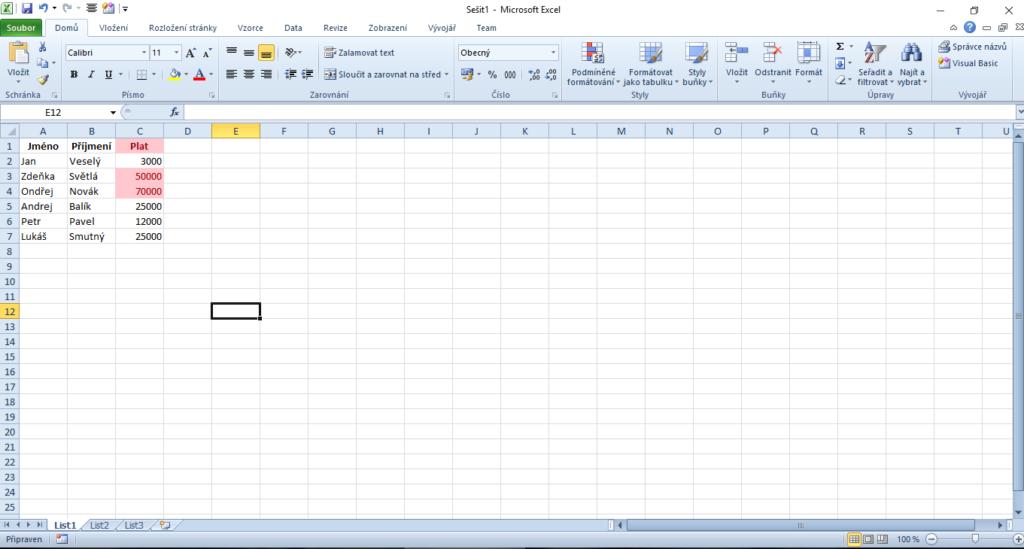 Excel podmíněné formátování