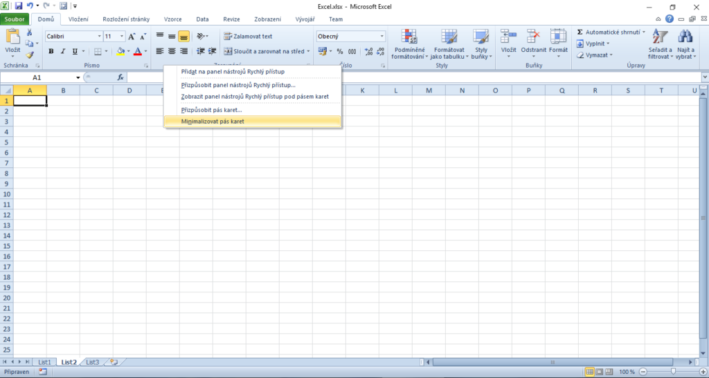 Minimalizovaný pás karet Excel
