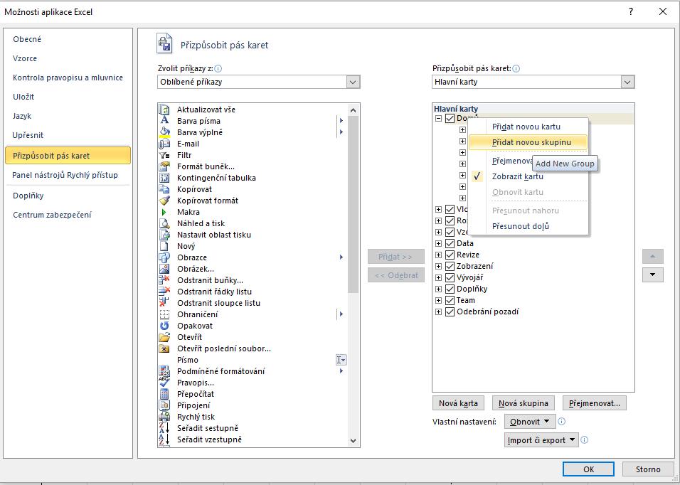 Excel - přizpůsobit pás karet - přidat novou skupinu