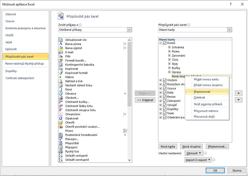 Excel - přizpůsobit pás karet - přidat novou skupinu - přejmenovat