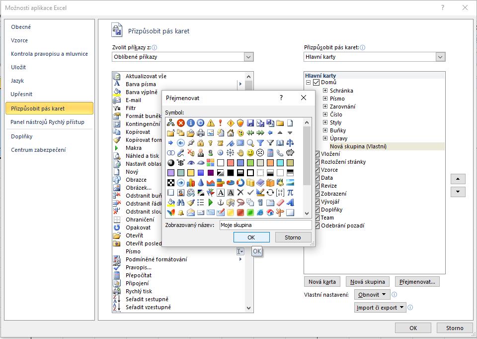 Excel - přizůpsobit pás karet - přidat novou skupinu - zvolit název skupiny