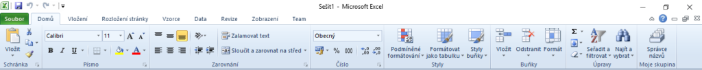 Excel - přizpůsobit pás karet (ribbon) - přidat novou skupinu - vysledek